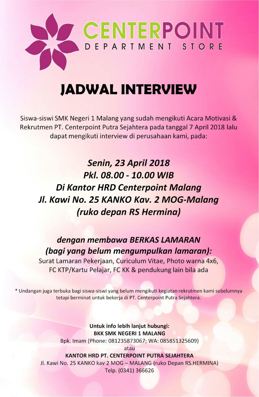 Centerpoint Phone Number >> Interview Centerpoint 2018 Smk Negeri 1 Malang